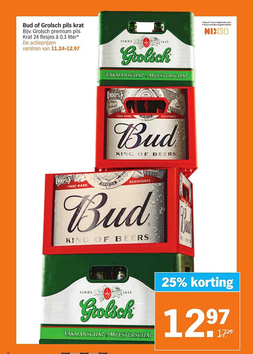 Albert Heijn Bud Of Grolsch Pils Krat 25% Korting