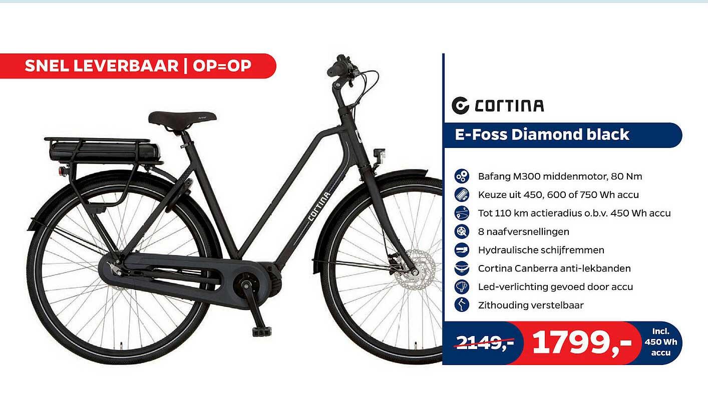 Bike Totaal Cortina E-Foss Diamond Black Fiets