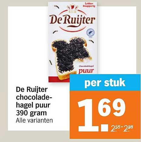 Albert Heijn De Ruijter Chocoladehagel Puur 390 Gram