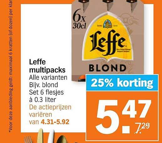 Albert Heijn Leffe Multipacks 25% Korting