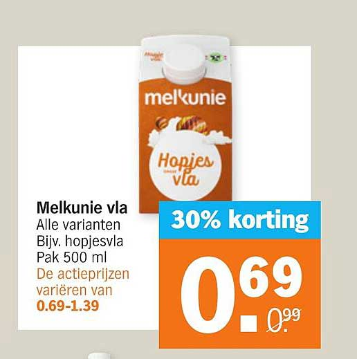 Albert Heijn Melkunie Vla 30% Korting