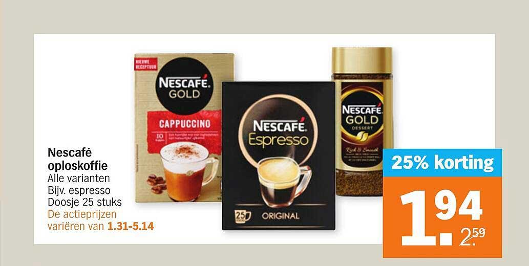 Albert Heijn Nescafé Oploskoffie 25% Korting
