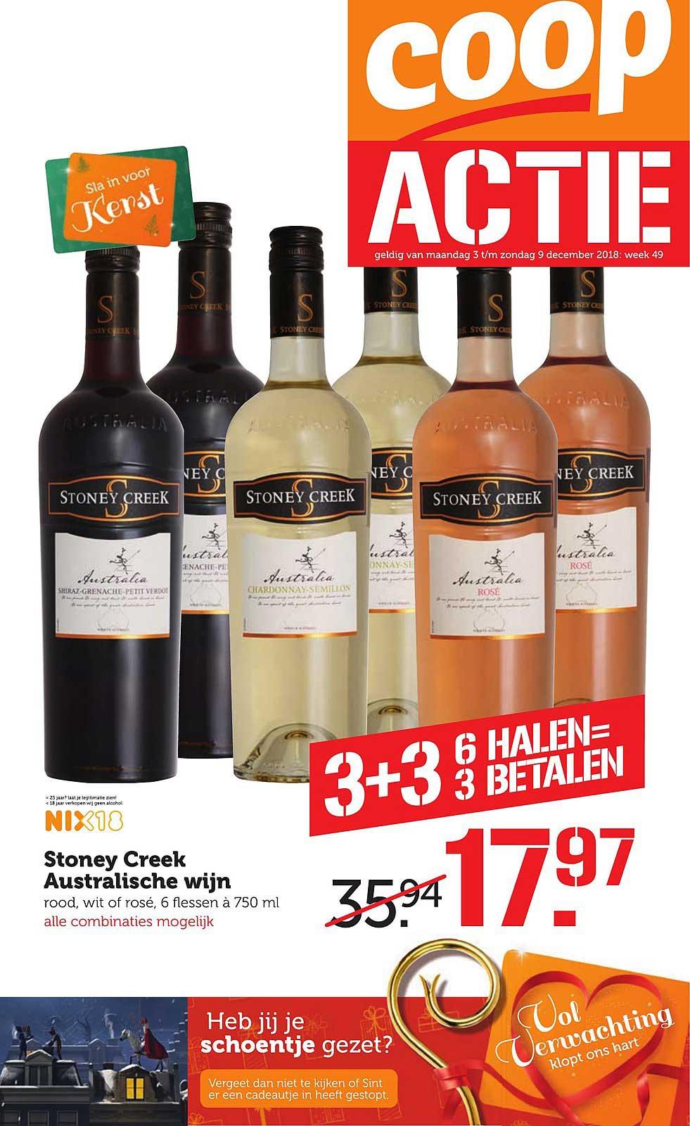 Coop Stoney Creek Australische Wijn: 6 Halen = 3 Betalen
