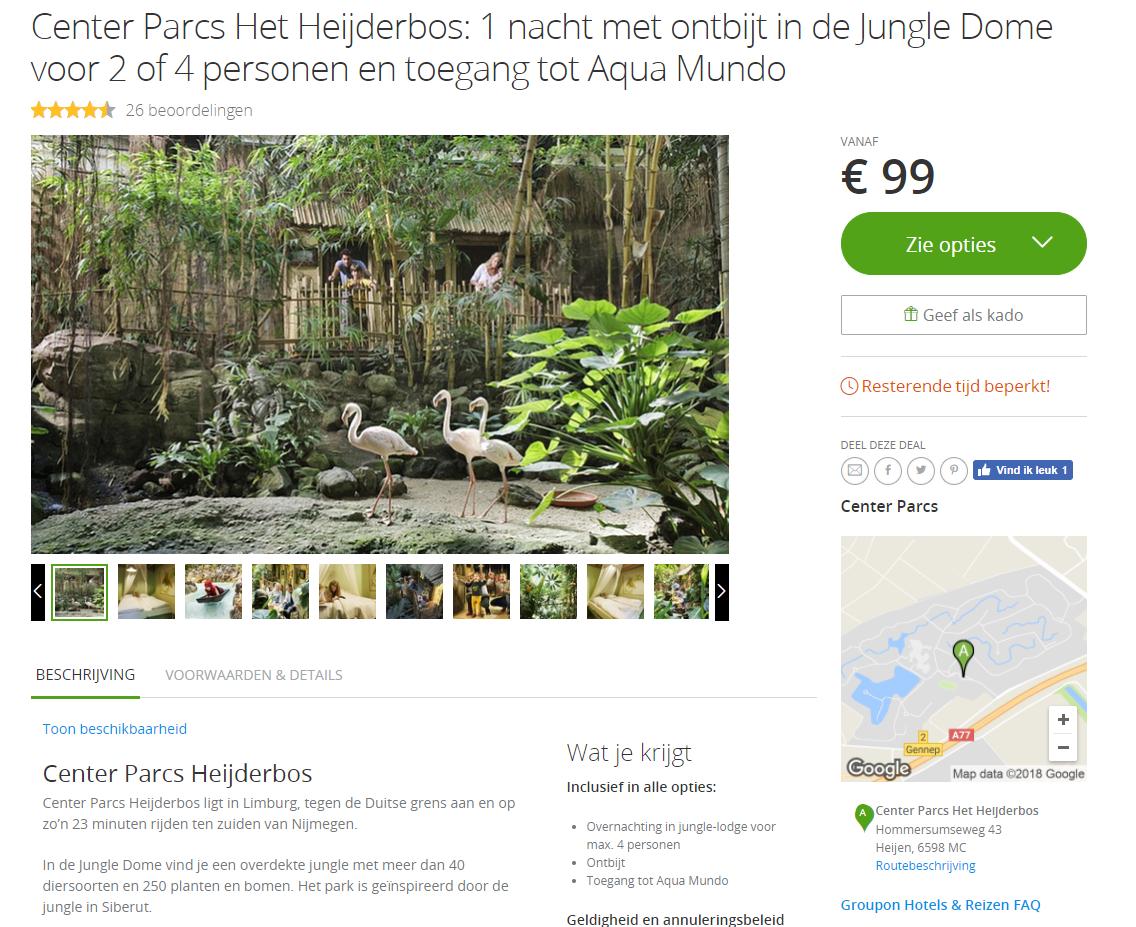 Groupon Center Parcs Het Heijderbos: 1 Nacht Met Ontbijt In De Jungle Dome Voor 2 Personen Of 4 Personen En Toegang Tot Aqua Mundo