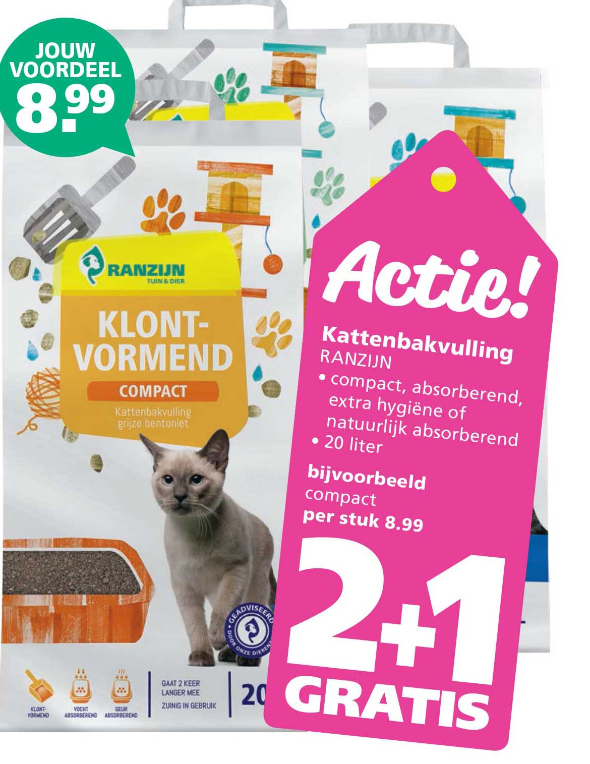 Ranzijn Tuin & Dier Kattenbakvulling: 2+1 Gratis