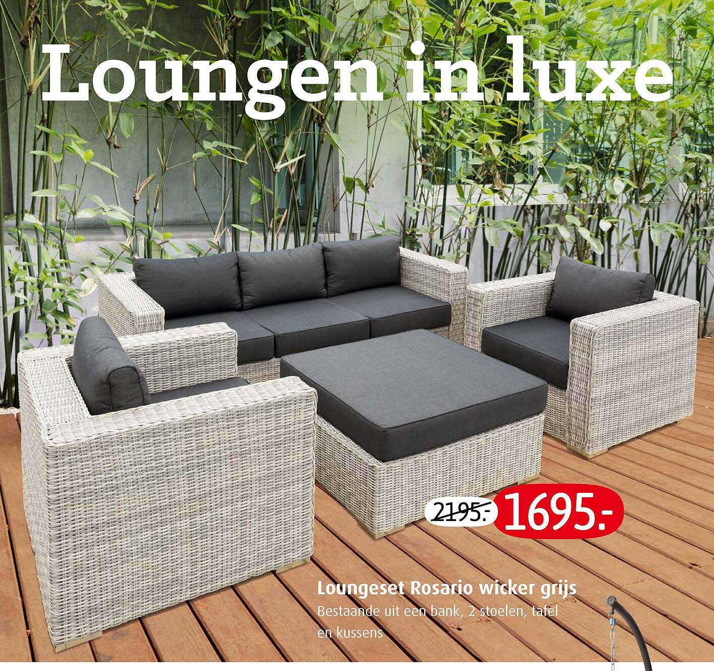 Tuincentrum Overvecht Loungeset Rosario Wicker Grijs