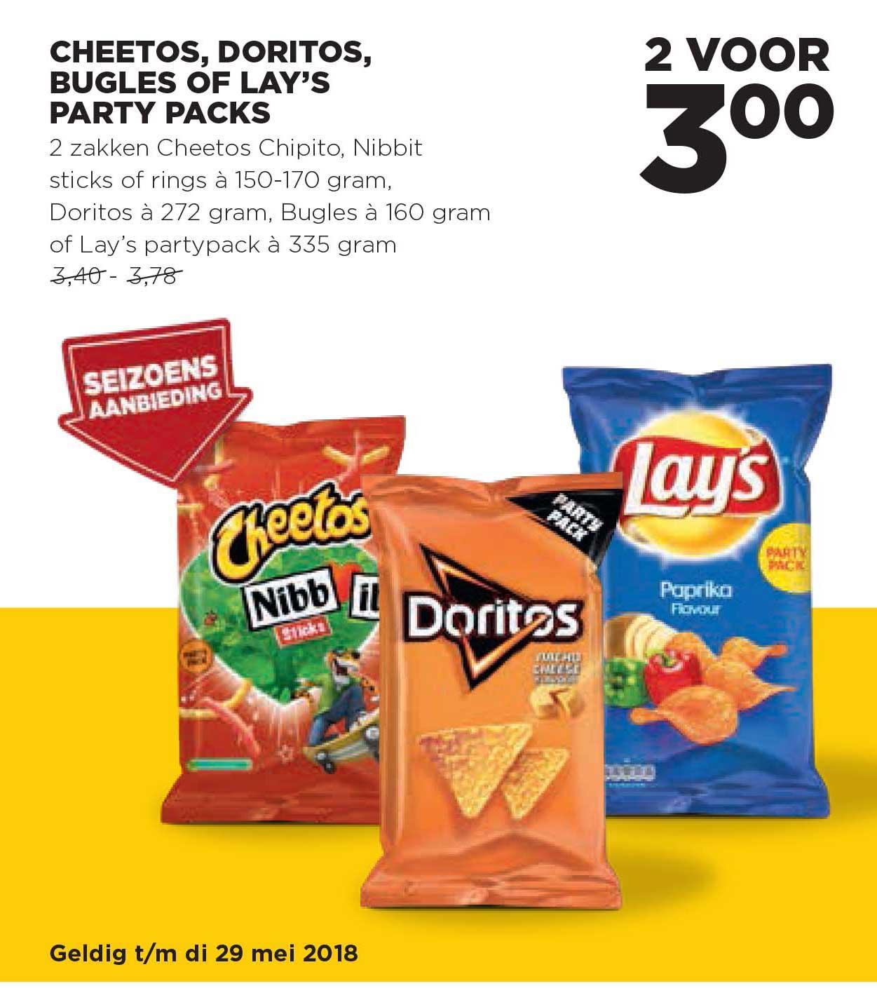 Jumbo Cheetos, Doritos, Bugles Of Lay's Party Packs