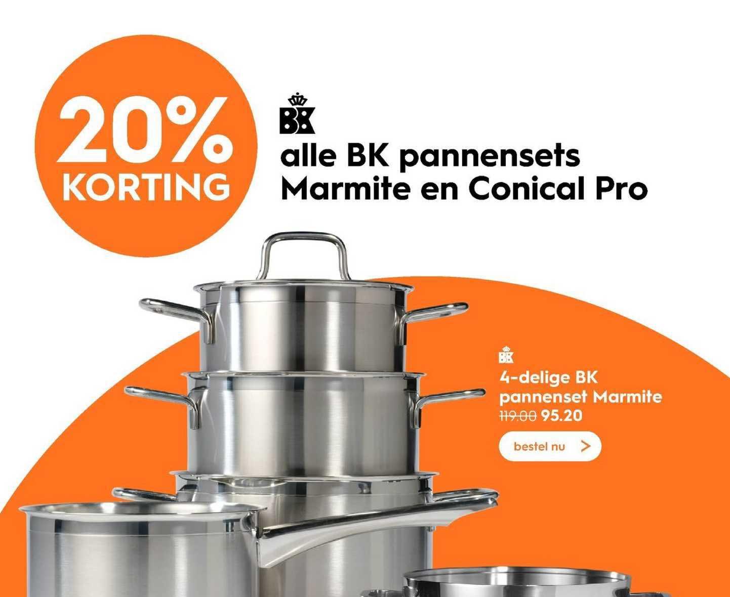 Blokker 4-Delige BK Pannenset Marmite 20% Korting