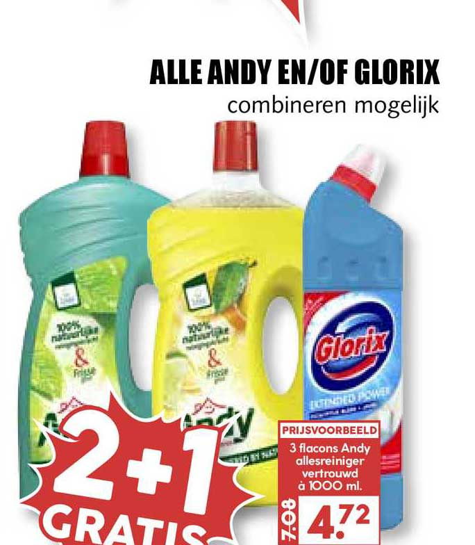 MCD Supermarkt Alle Andy En-of Glorix 2+1 Gratis