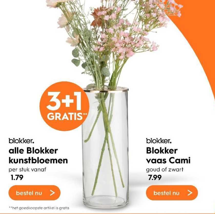Blokker Alle Blokker Kunstbloemen Of Blokker Vaas Cami 3+1 Gratis
