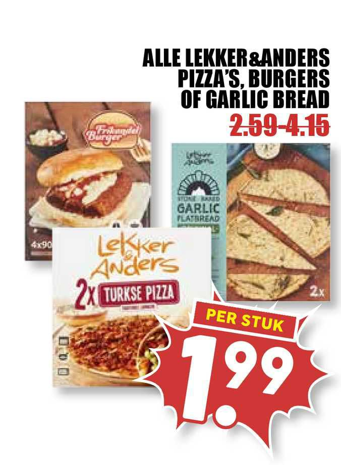 MCD Supermarkt Alle Lekker&Anders Pizza's, Burgers Of Garlic Bread