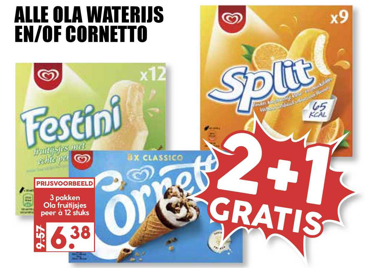 MCD Supermarkt Alle Ola Waterijs En-of Cornetto 2+1 Gratis