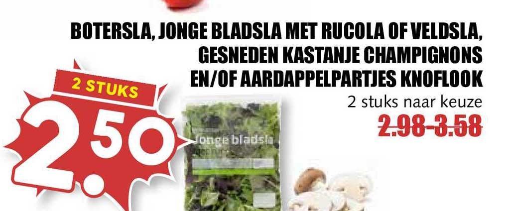 MCD Supermarkt Botersla, Jonge Bladsla Met Rucola Of Veldsla, Gesneden Kastanje Champignons En-of Aardappelpartjes Knoflook