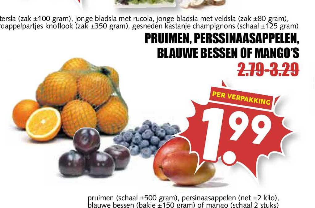 MCD Supermarkt Pruimen, Perssinaasappelen, Blauwe Bessen Of Mango's