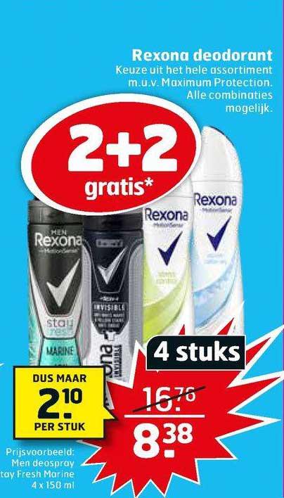Trekpleister Rexona Deodorant 2+2 Gratis