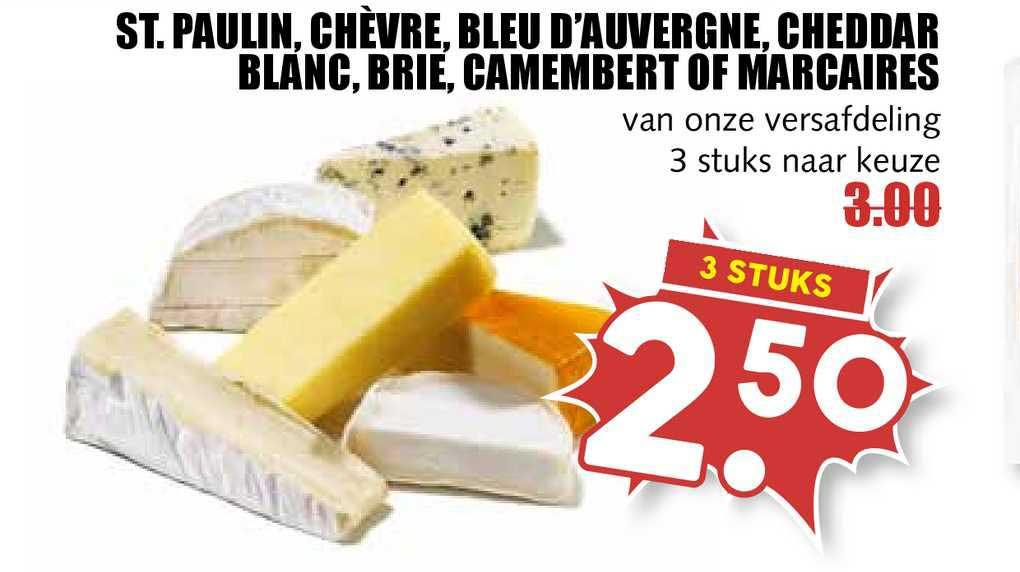 MCD Supermarkt St. Paulin, Chèvre, Bleu D'Auvergne, Cheddar Blanc, Brie, Camembert Of Marcaires