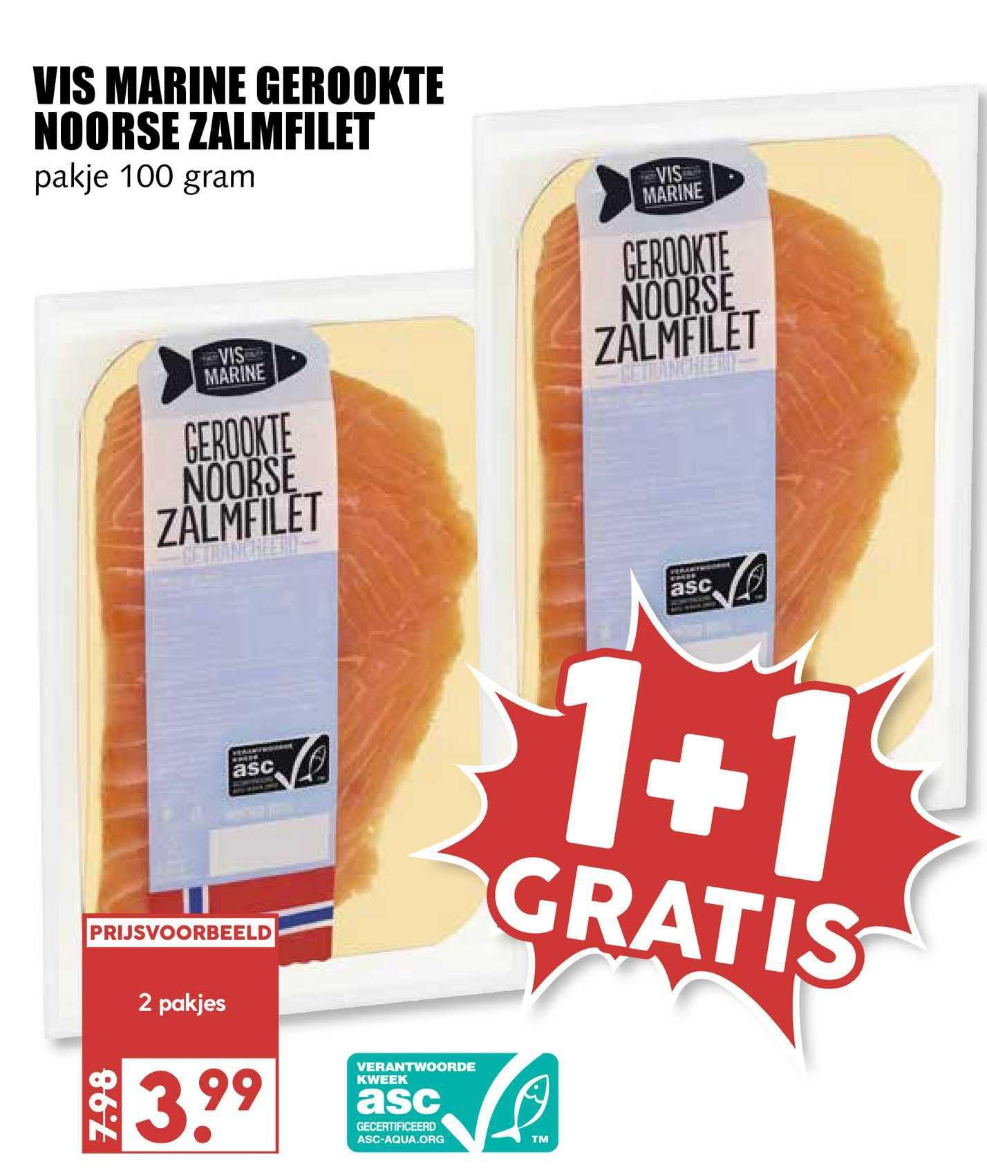 MCD Supermarkt Vis Marine Gerookte Noorse Zalmfilet 1+1 Gratis