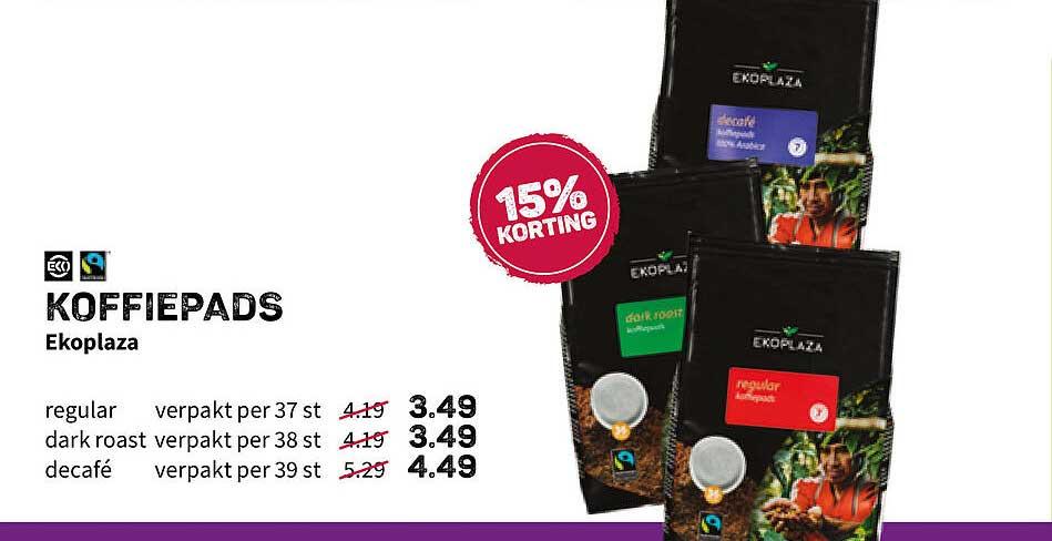 Ekoplaza Koffiepads Ekoplaza 15% Korting