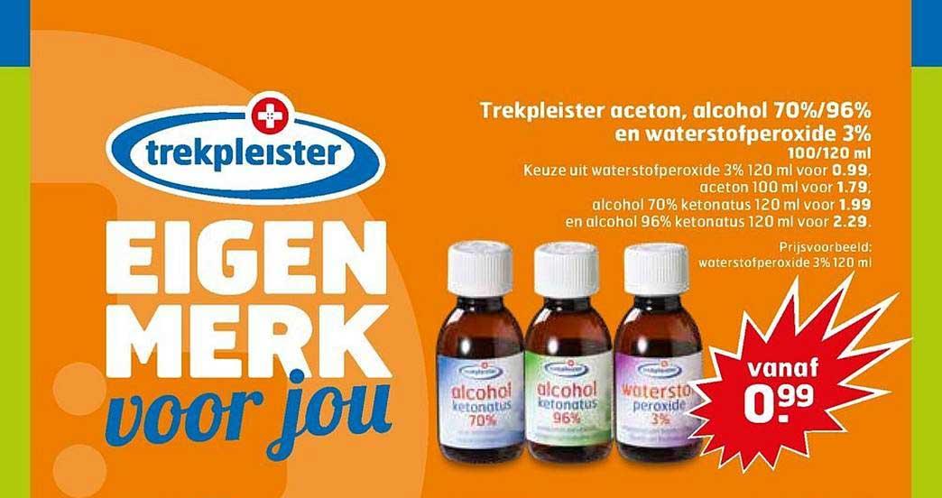 Trekpleister Trekpleister Aceton, Alcohol 70%-96% En Waterstofperoxide 3%