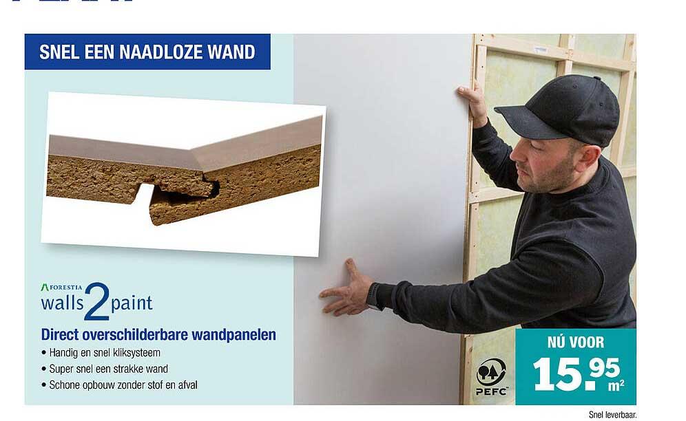 PontMeyer Walls2Paint Direct Overschilderbare Wandpanelen