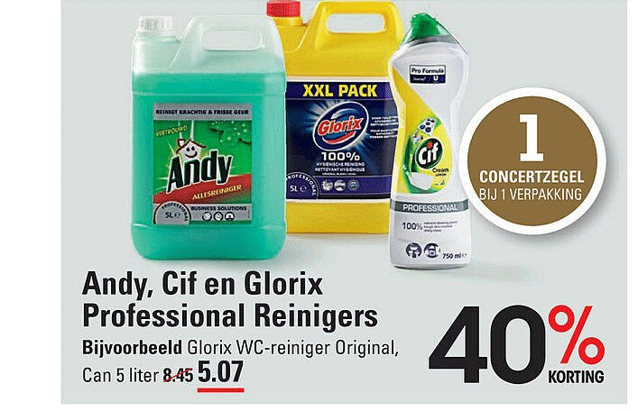 Sligro Andy, Cif En Glorix Professional Reinigers 40% Korting