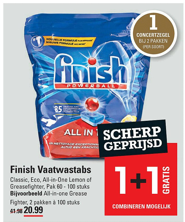 Sligro Finish Vaatwastabs Classic, Eco, All-In-One Lemon Of Greasefighter 1+1 Gratis