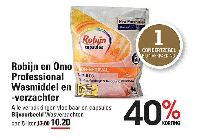 Sligro Robijn En Omo Professional Wasmiddel En -verzachter 40% Korting