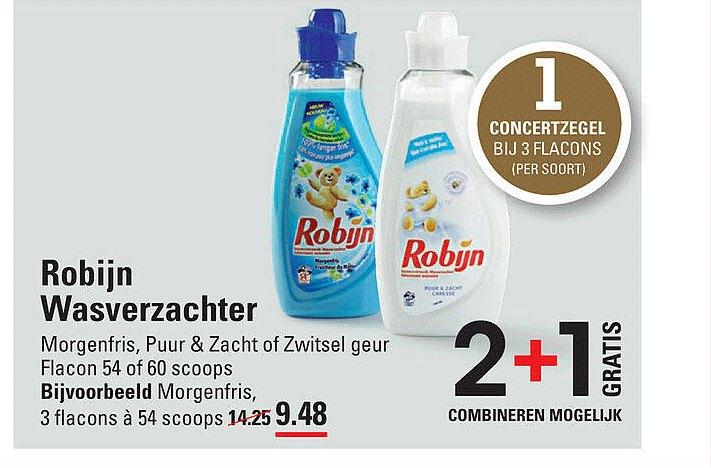 Sligro Robijn Wasverzachter Morgenfris, Puur & Zacht Of Zwitsel Geur 2+1 Gratis