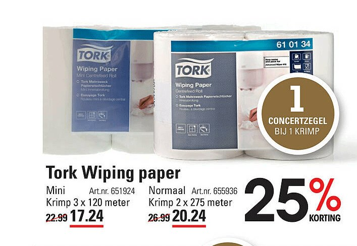 Sligro Tork Wiping Paper Mini Of Normaal 25% Korting