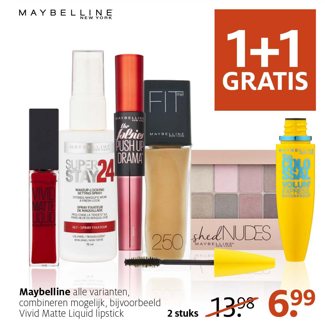 Etos Maybelline: 1+1 Gratis