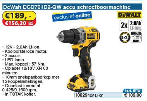 Toolstation Dewalt Dcd701d2 Qw Accu Schroefboormachine