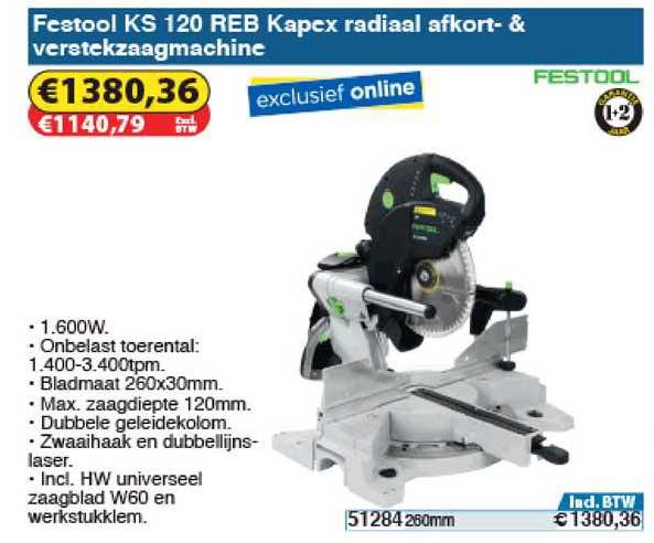 Toolstation Festool Ks 120 Reb Kapex Radiaal Afkort- & Verstekzaagmachine