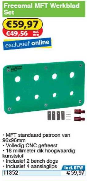 Toolstation Freesmal Mft Werkblad Set