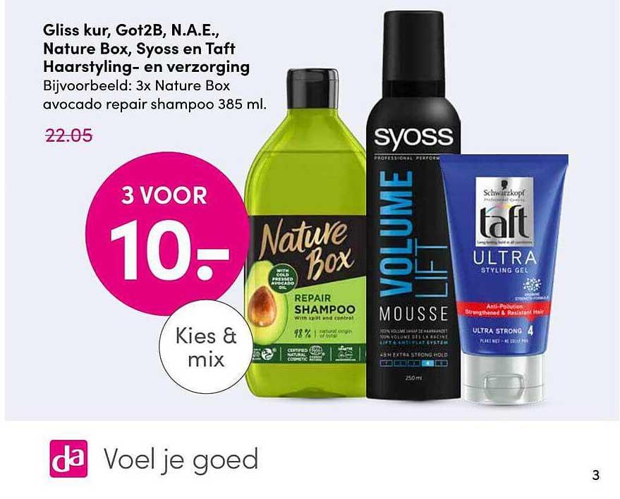 DA Gliss Kur, Got2B, N.A.E., Nature Box, Syoss En Taft Haarstyling En Haarverzorging