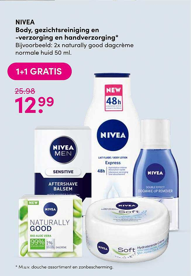 DA Nivea Body, Nivea Gezichtsreiniging En -verzorging En Handverzorging 1+1 Gratis