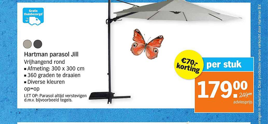 Albert Heijn Hartman Parasol Jill 300 X 300 Cm €70.- Korting