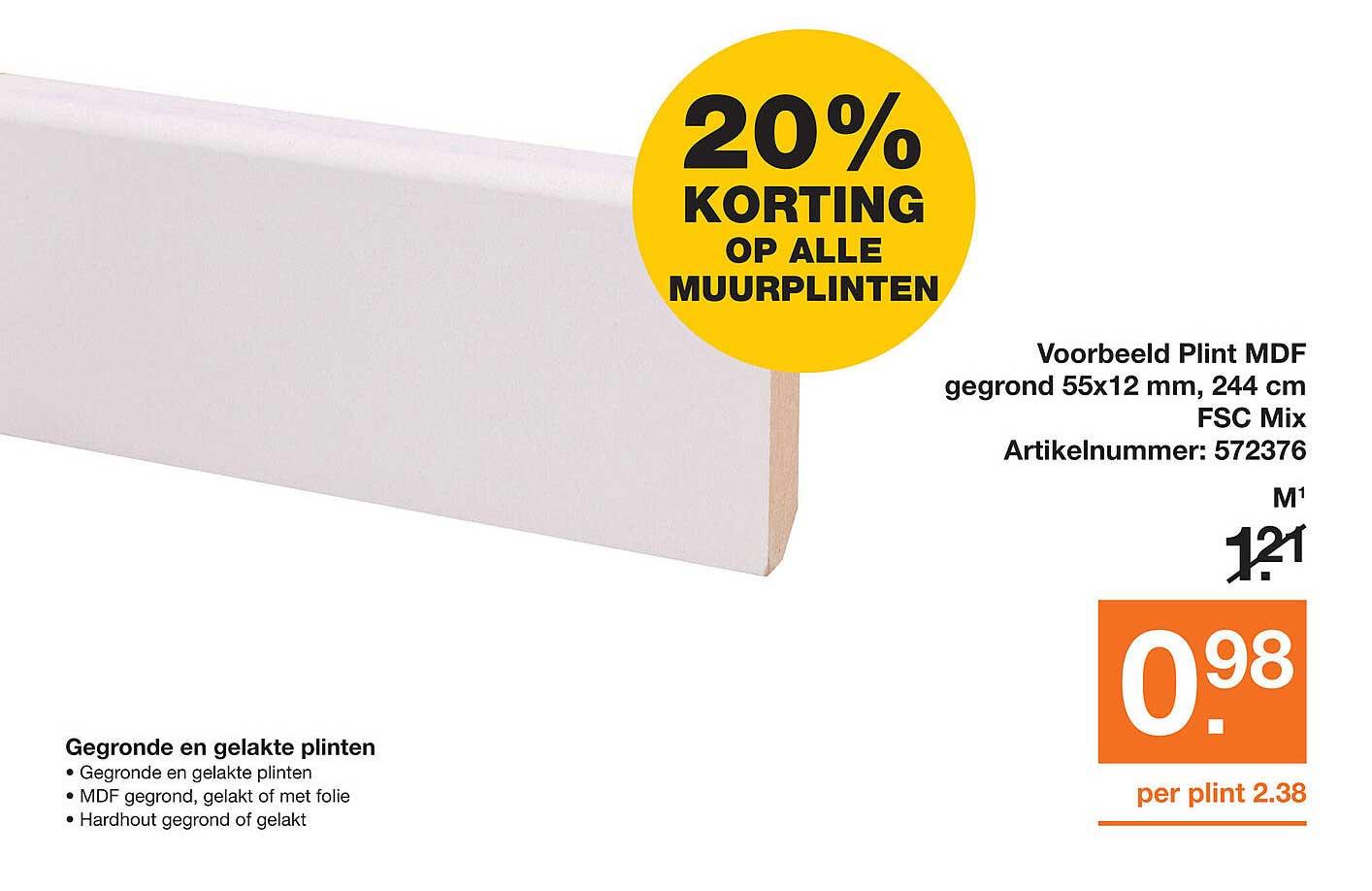 Bouwmaat Plint MDF Gegrond 55x12 Mm, 244 Cm FSC Mix