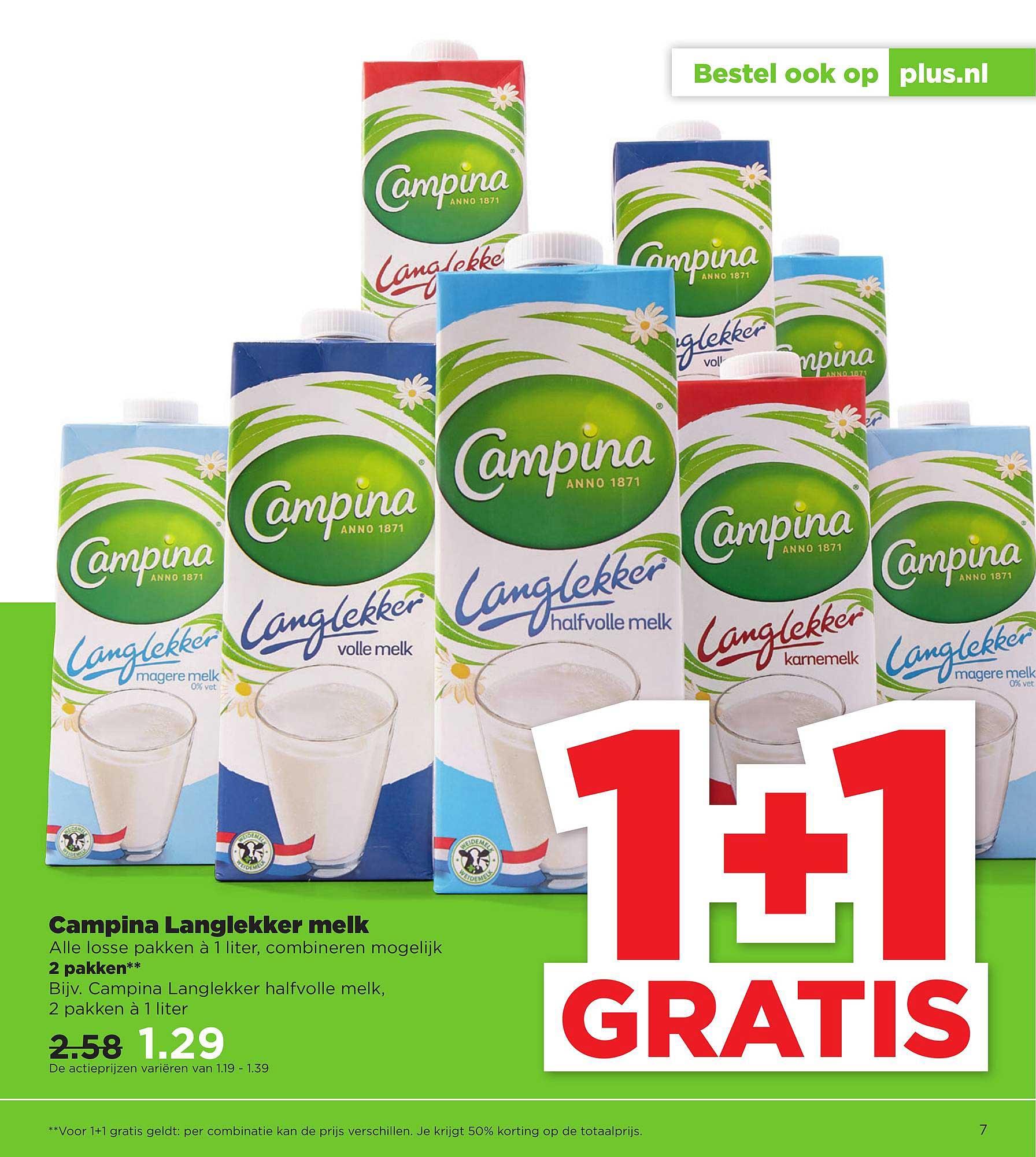 PLUS Campina Langlekker Melk 1+1 Gratis