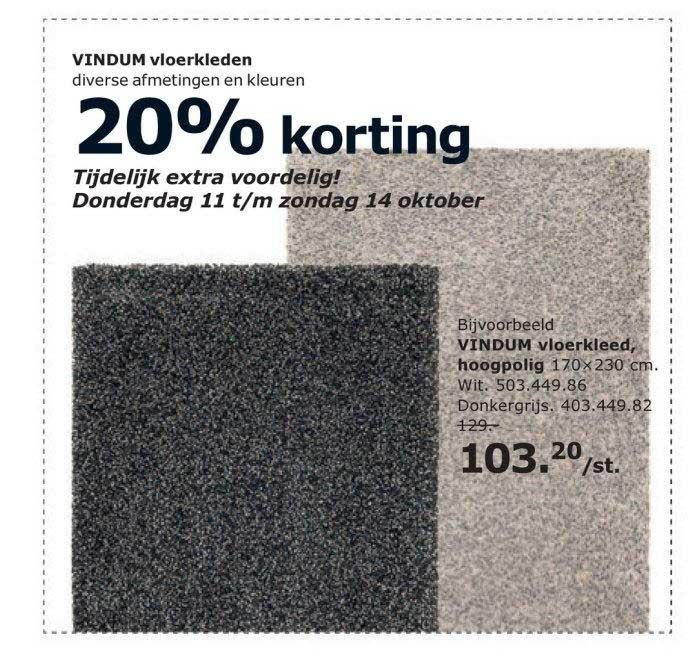 IKEA Vindum Vloerkleden: 20% Korting