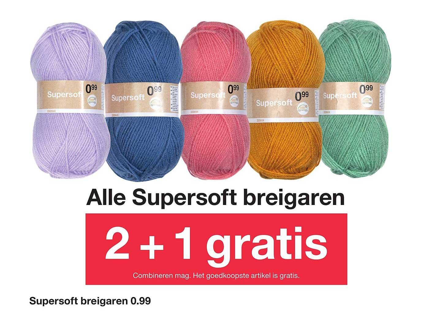 Zeeman Alle Supersoft Breigaren: 2+1 Gratis