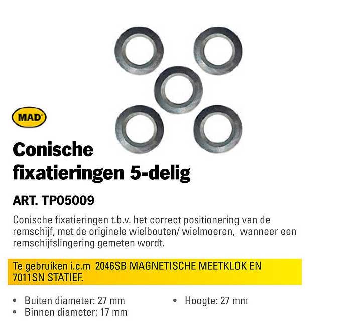 Toolspecial Conische Fixatieringen 5-Delig