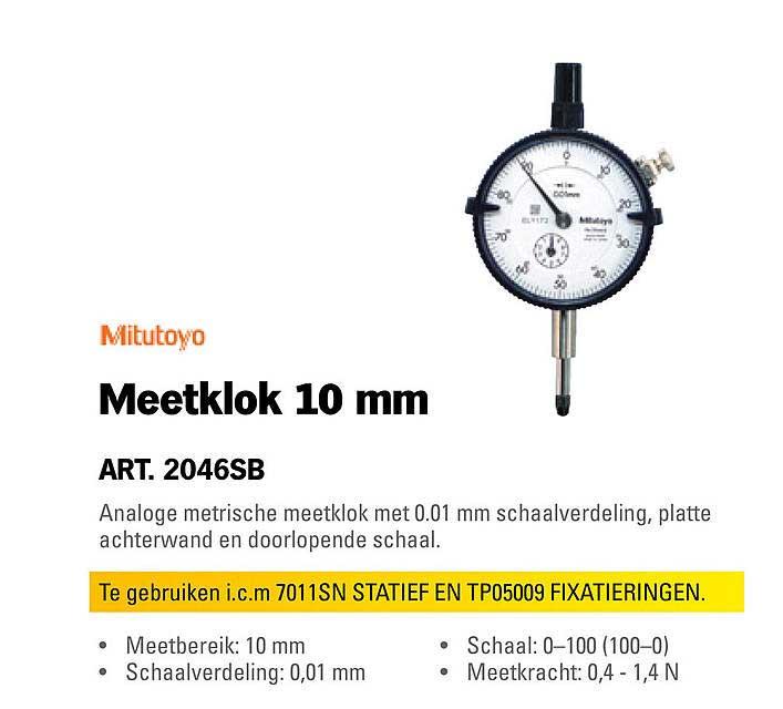 Toolspecial Mitutoyo Meetklok 10 Mm