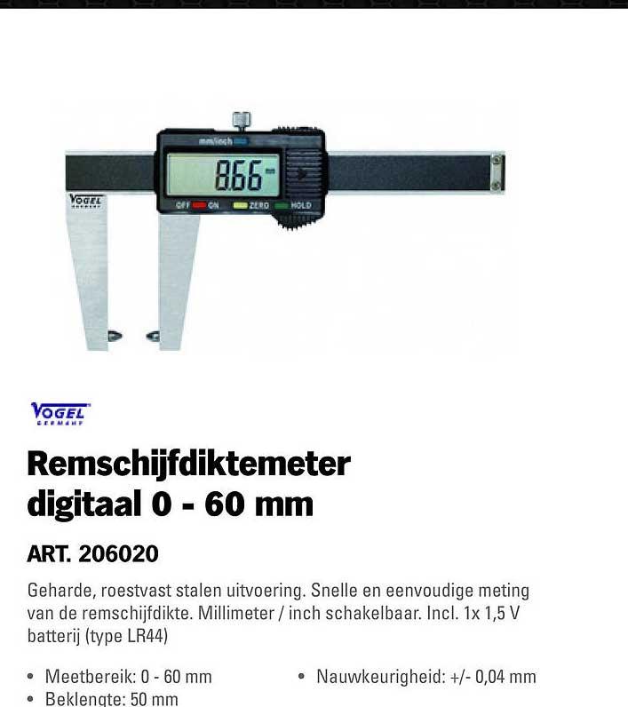 Toolspecial Vogel Remschijfdijtemeter Digitaal 0 - 60 Mm