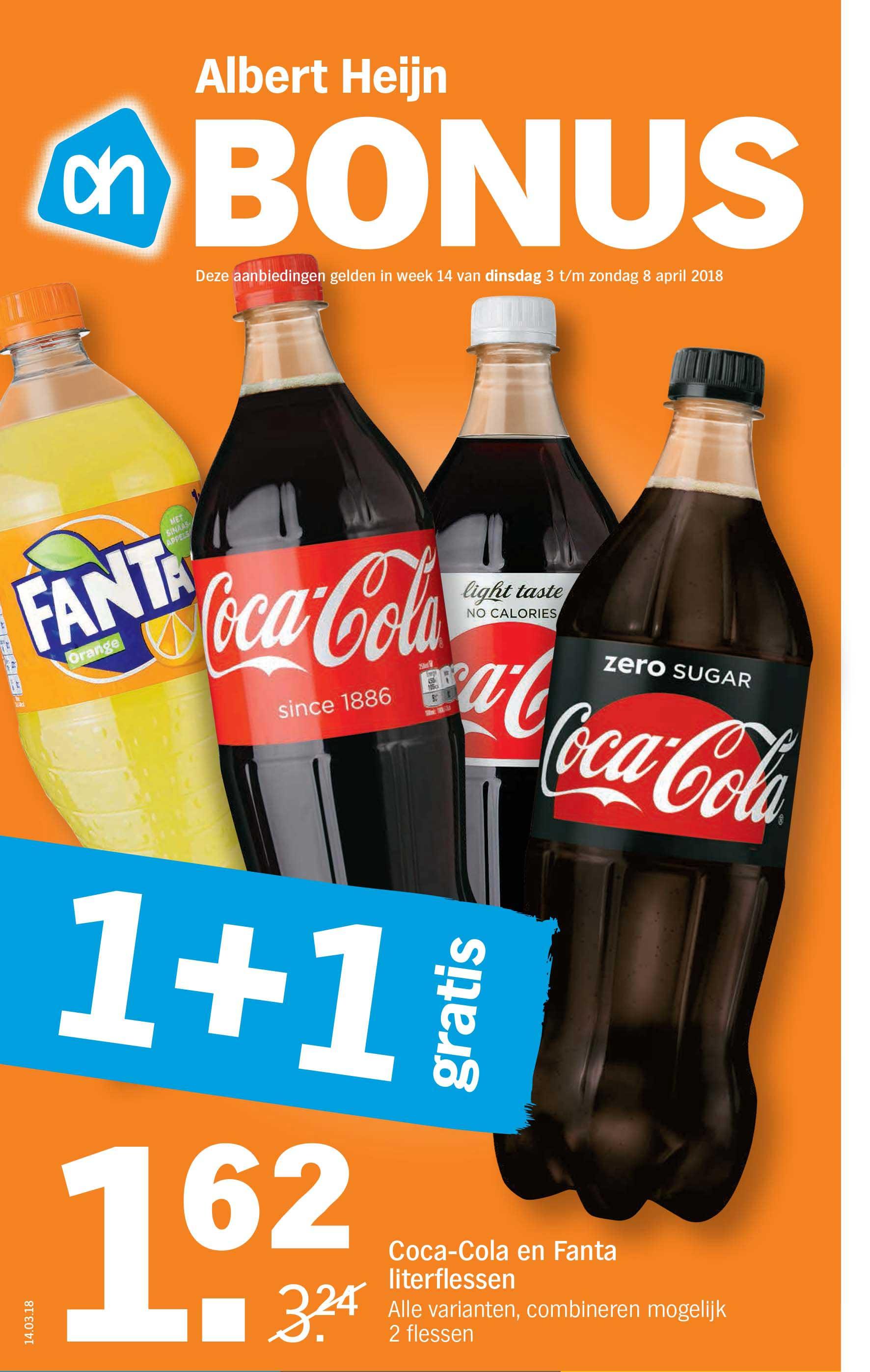 Albert Heijn Coca Cola En Fanta Literflessen: 1+1 Gratis