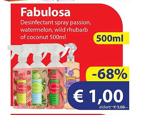 Die Grenze Fabulosa Desinfectant Spray Passion, Watermelon, Wild Rhubarb Of Coconut 500ml