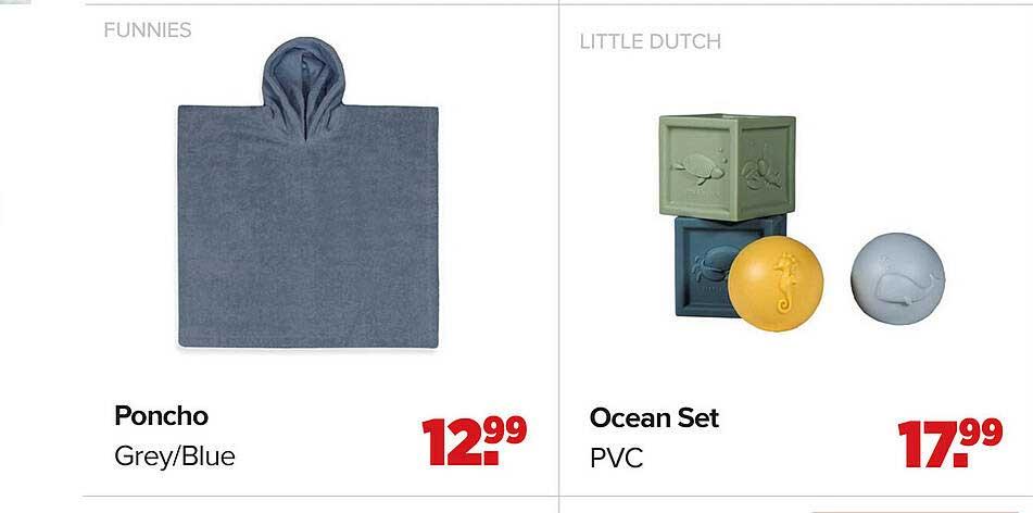 Baby-Dump Funnies Poncho Grey-Blue Of Little Dutch Ocean Set PVC