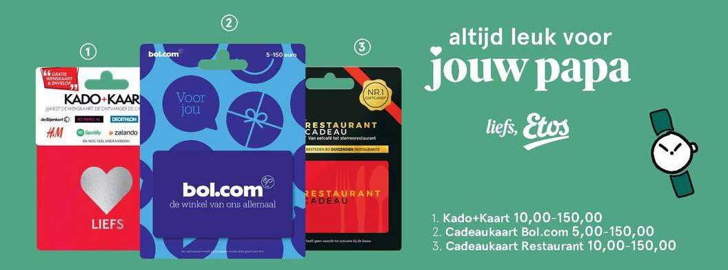 Etos Kado+Kaart, Cadeaukaart Bol.Com Of Cadeaukaart Restaurant