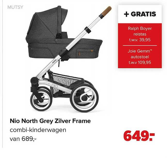 Baby-Dump Mutsy Nio North Grey Zilver Frame Combi-Kinderwagen