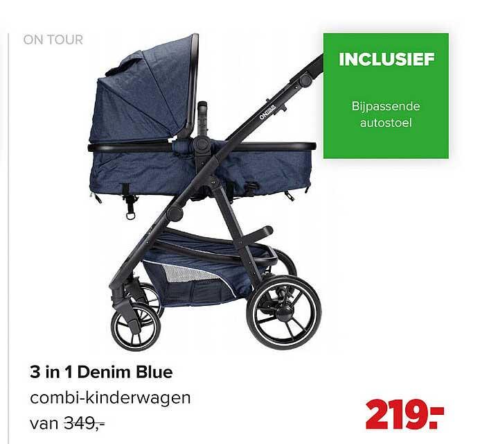 Baby-Dump On Tour 3 In 1 Denim Blue Combi-Kinderwagen