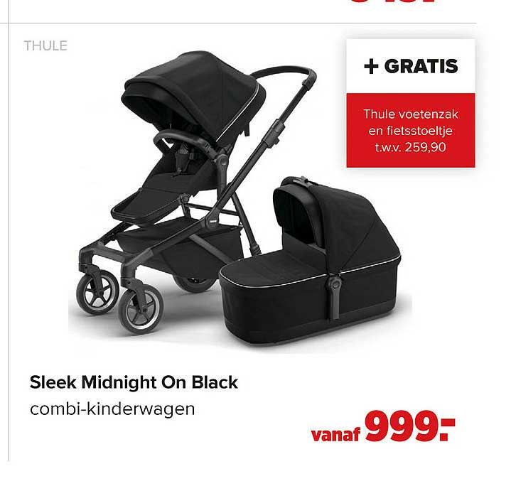 Baby-Dump Thule Sleek Midnight On Black Combi-Kinderwagen